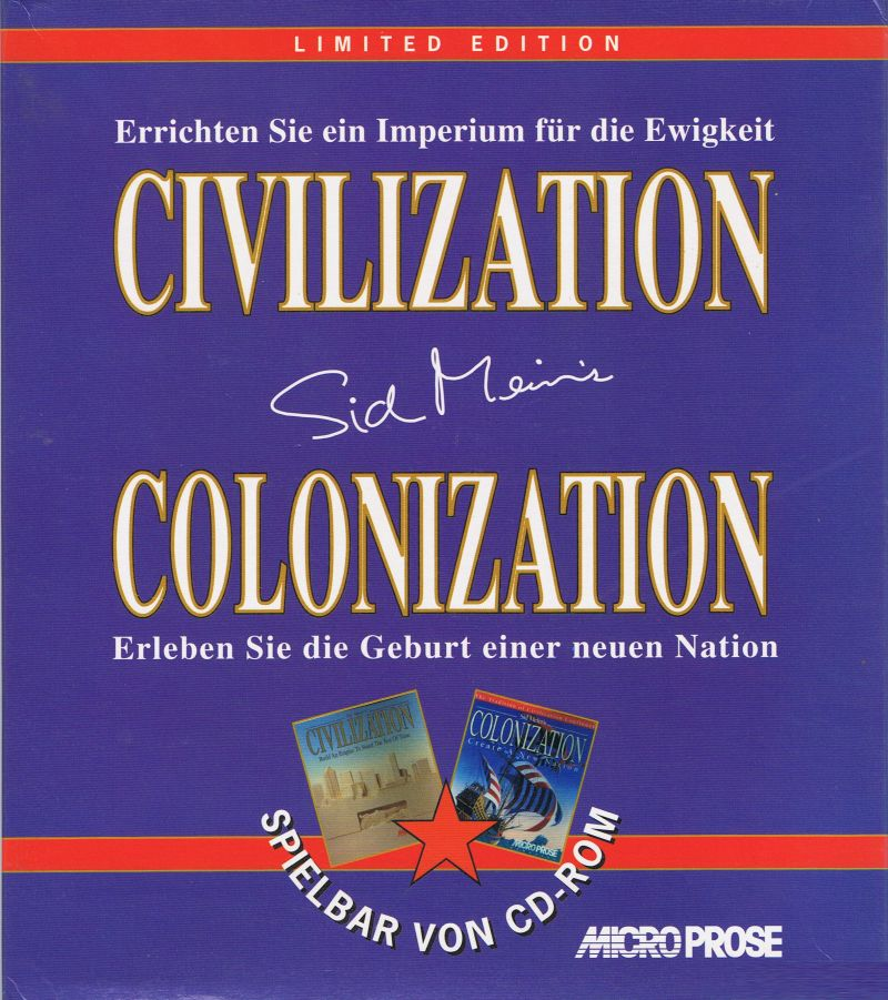 Microprose Limited Edition: Civilization + Colonization DOS Front Cover