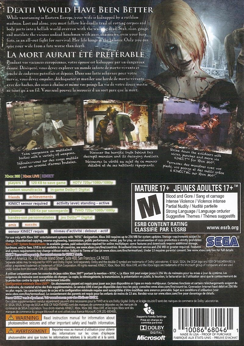 Rise of Nightmares Xbox 360 Back Cover