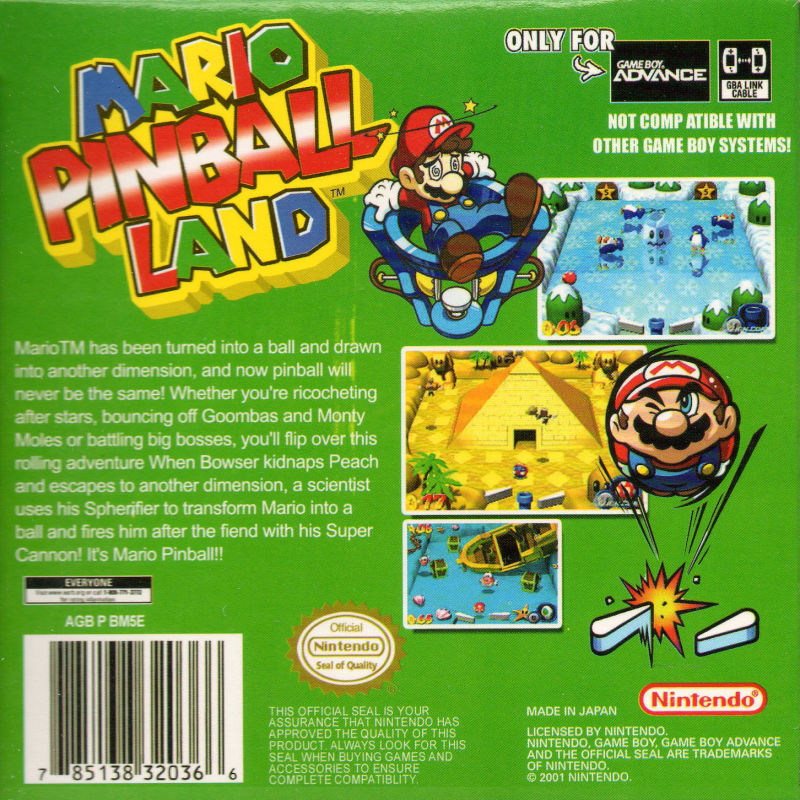 Mario Pinball Land Game Boy Advance Back Cover