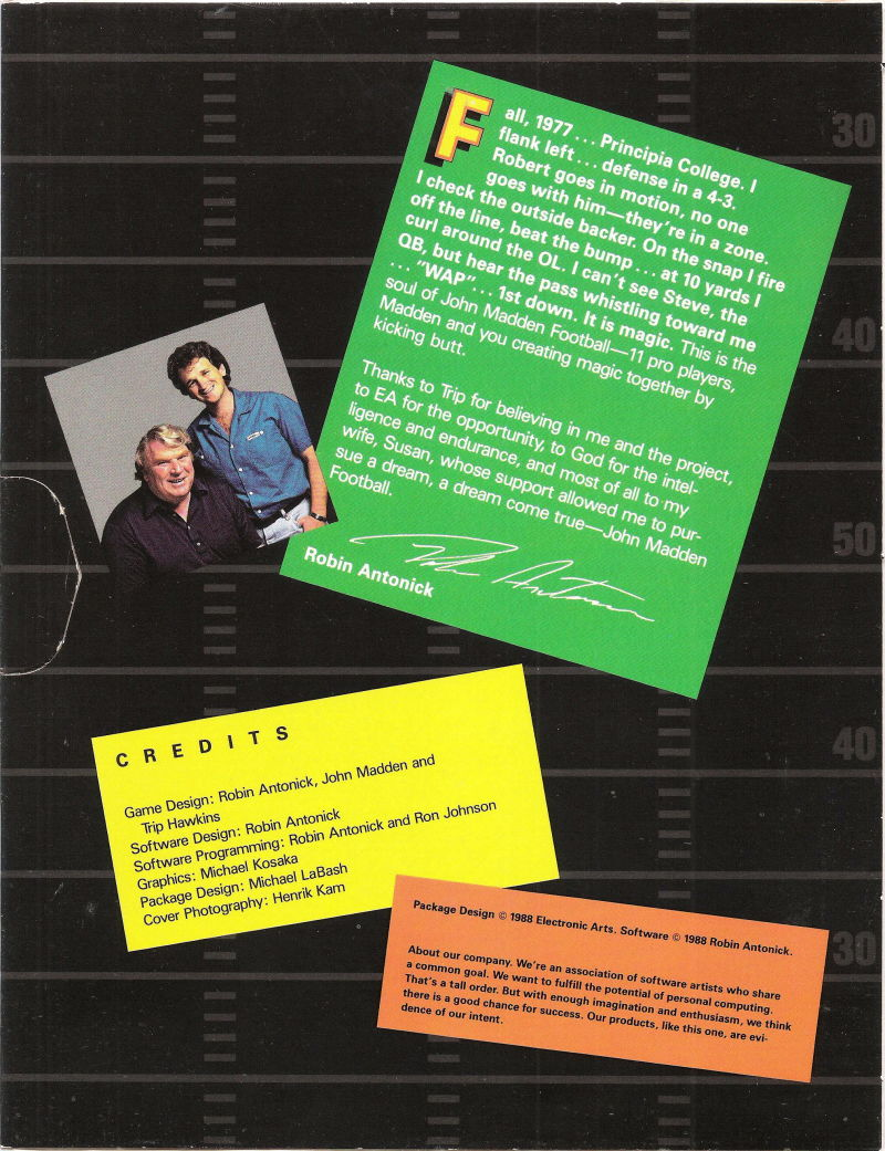 John Madden Football DOS Inside Cover Left Side
