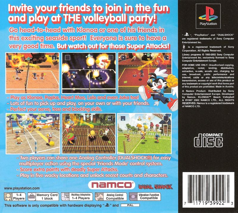 Klonoa Beach Volleyball PlayStation Back Cover