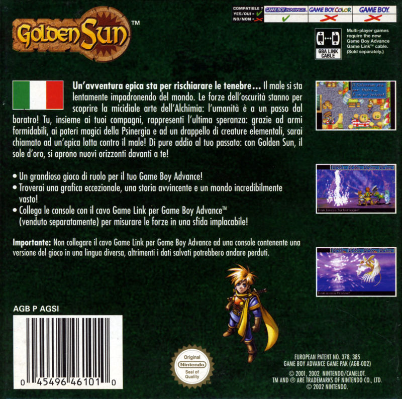 Golden Sun Game Boy Advance Back Cover