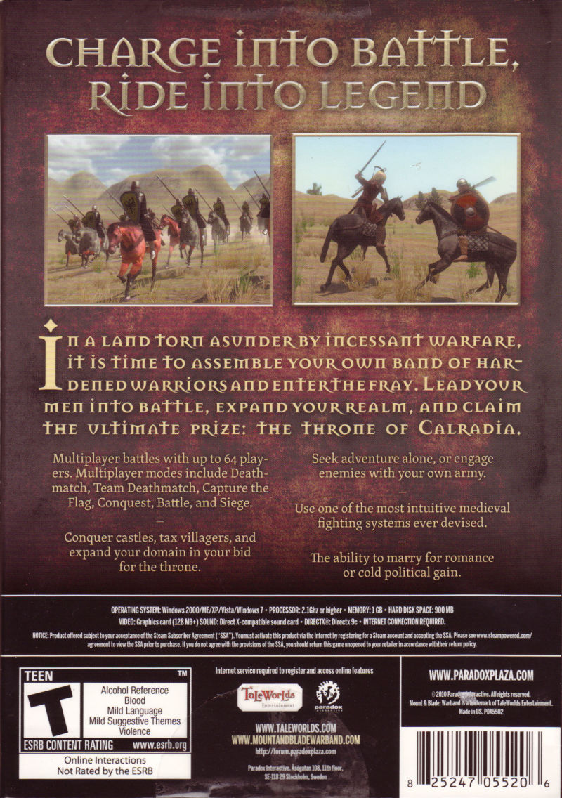 Mount&Blade: Warband Windows Back Cover