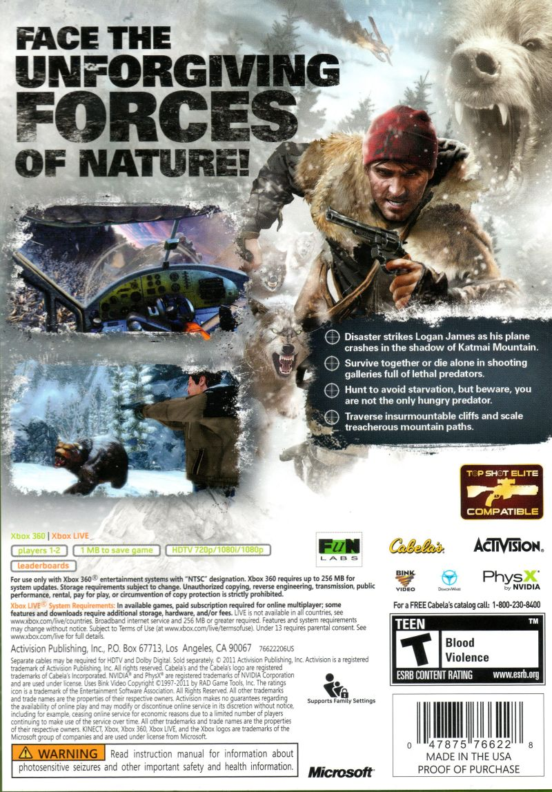Cabela's Survival: Shadows of Katmai Xbox 360 Back Cover