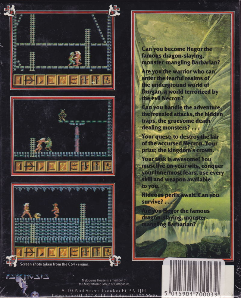Barbarian ZX Spectrum Back Cover