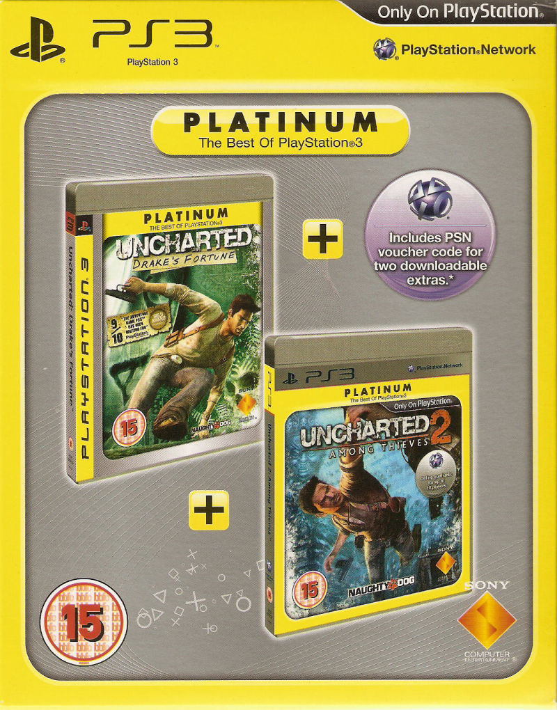 Uncharted: Drake's Fortune + Uncharted 2: Among Thieves PlayStation 3 Front Cover