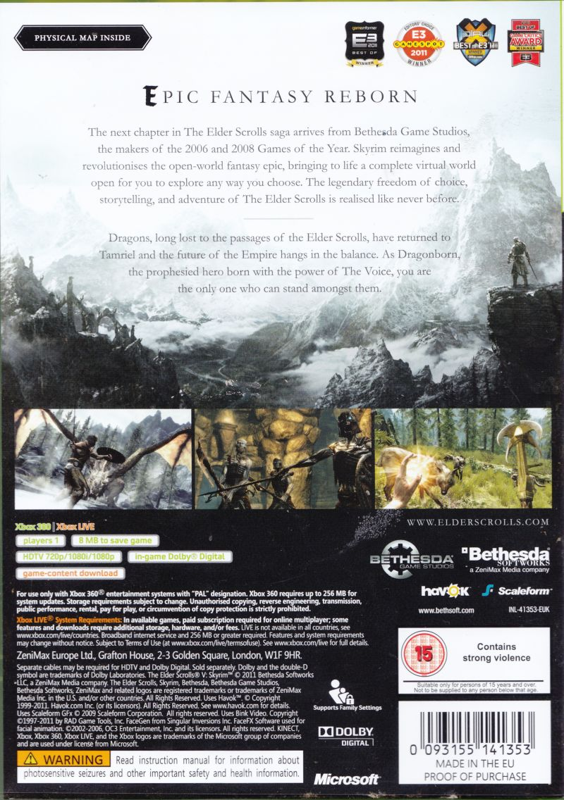 The Elder Scrolls V: Skyrim Xbox 360 Back Cover