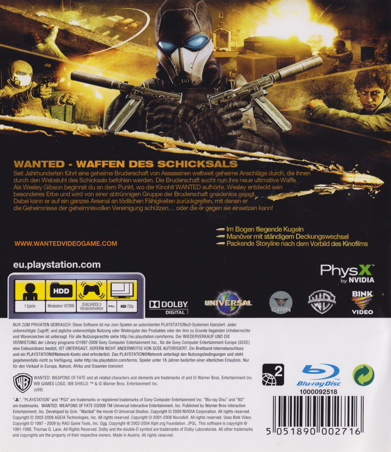 Wanted: Weapons of Fate PlayStation 3 Back Cover