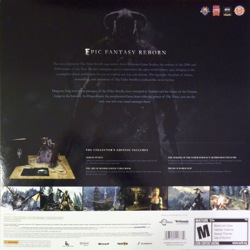 The Elder Scrolls V: Skyrim (Collector's Edition) Xbox 360 Back Cover