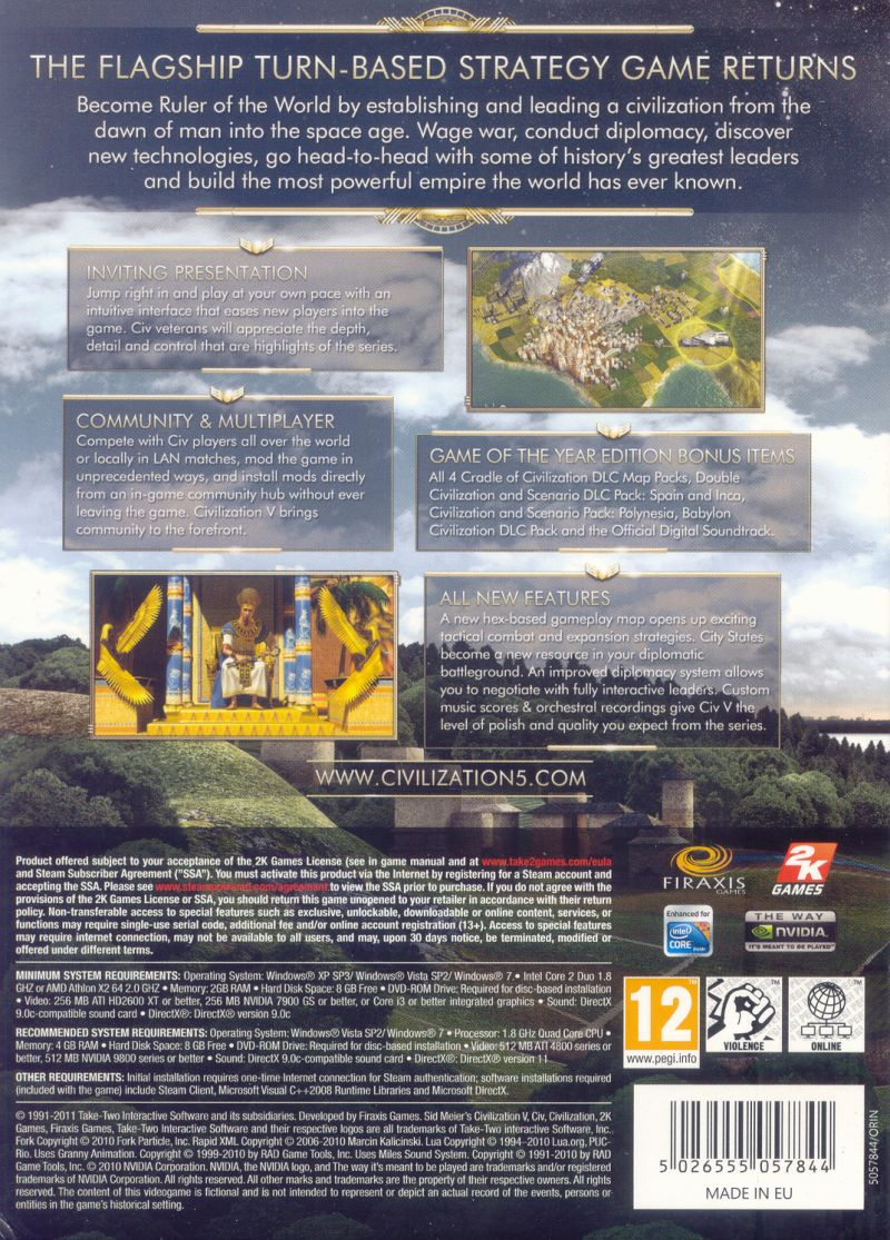 Sid Meier's Civilization V: Game of the Year Edition Windows Back Cover