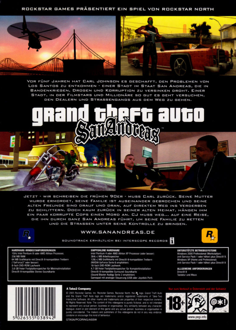 Grand Theft Auto: San Andreas Windows Back Cover