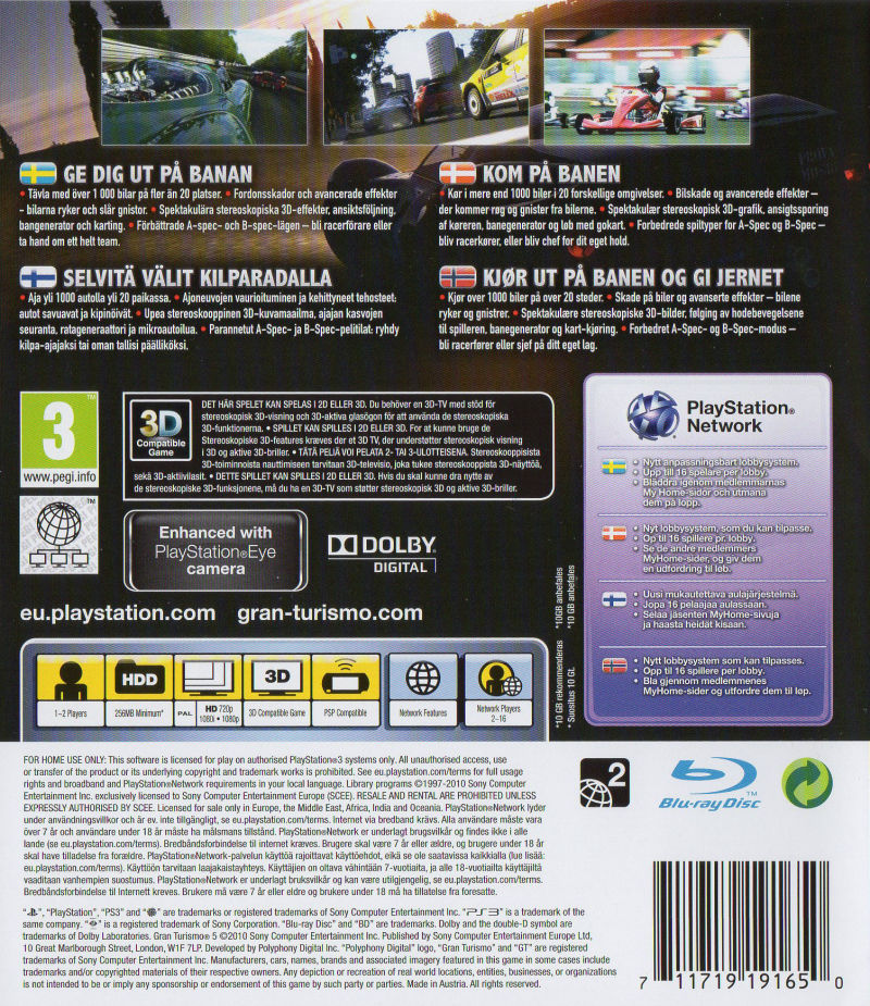 Gran Turismo 5 (Signature Edition) PlayStation 3 Other Keep Case - Back