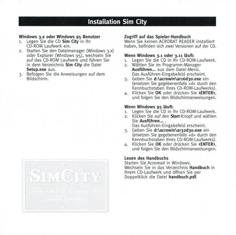 SimCity Windows 3.x Inside Cover