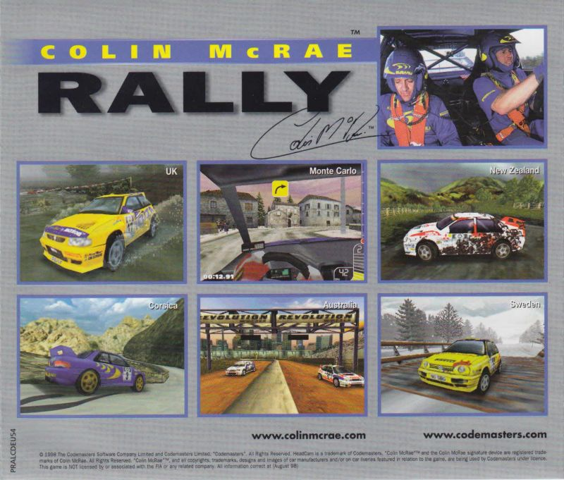 Colin McRae Rally Windows Front Cover Jewel Case Back