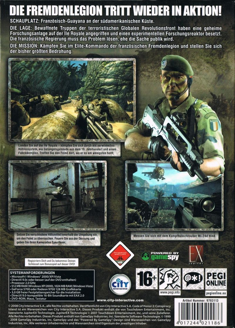 Code of Honor 2: Conspiracy Island Windows Other Keep Case - Back