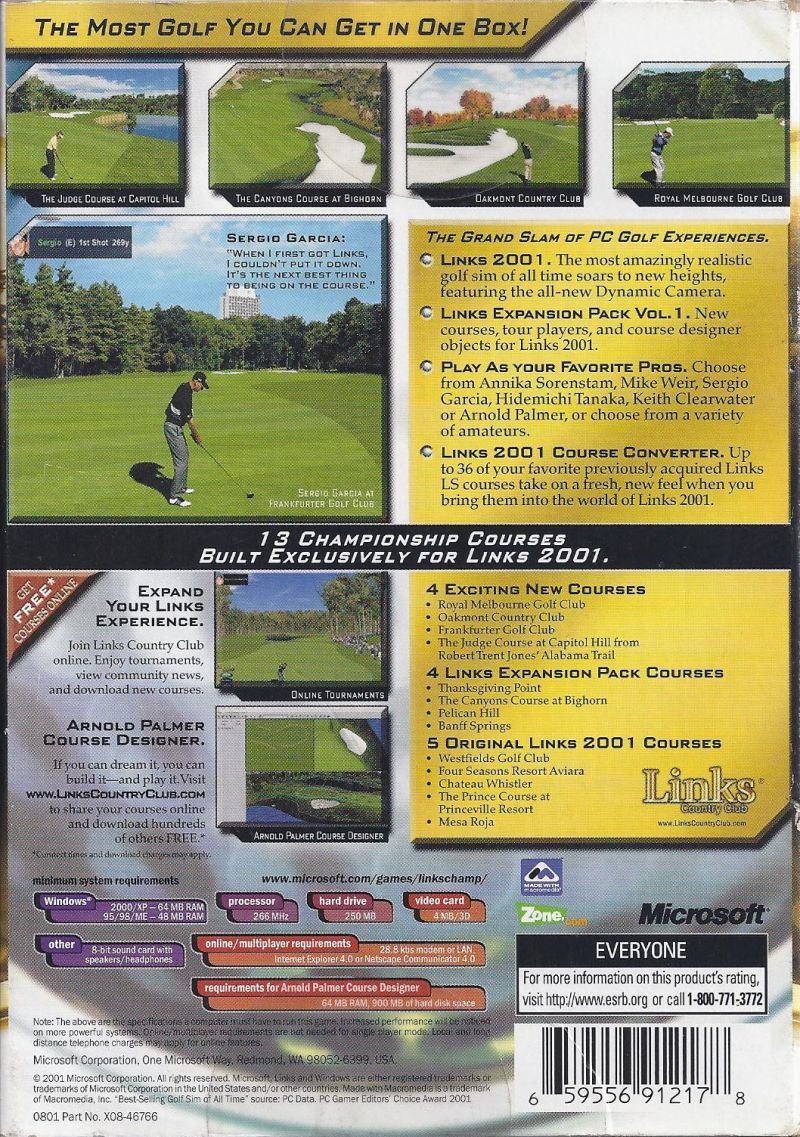 Links Championship Edition Windows Back Cover