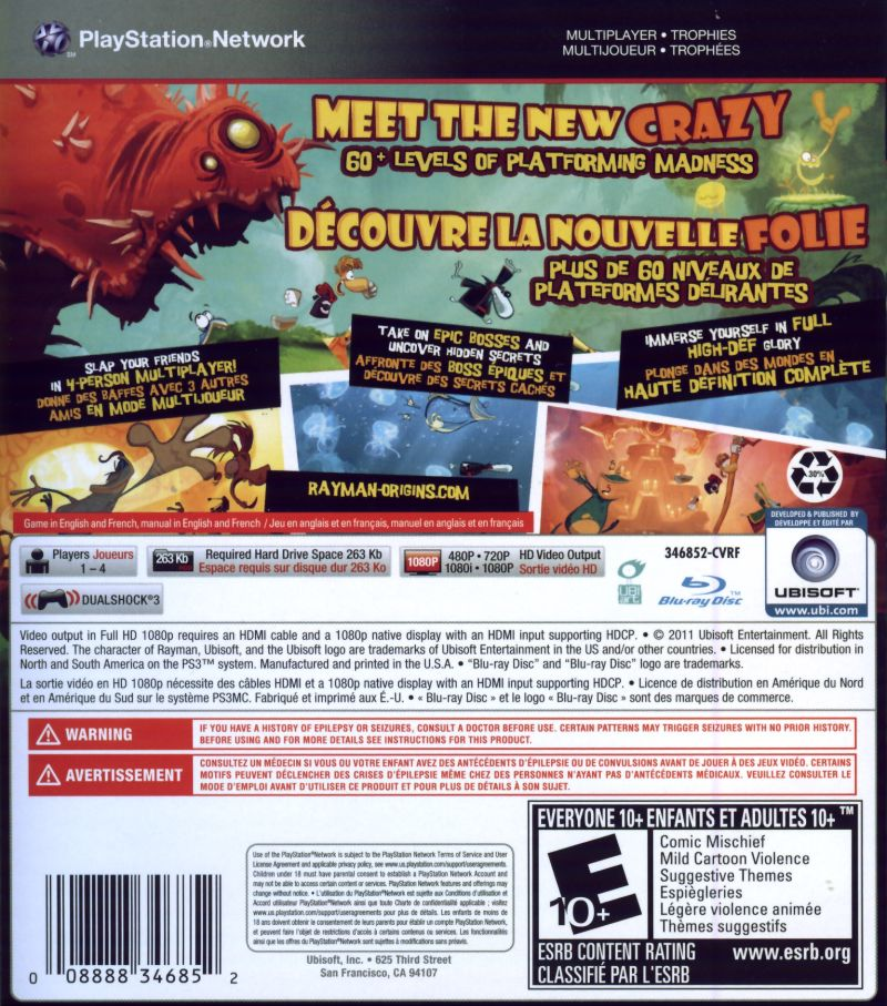 Rayman Origins PlayStation 3 Back Cover