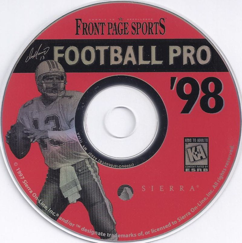Front Page Sports: Football Pro '98 Windows Media CD-ROM