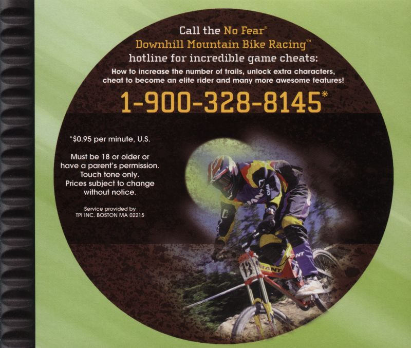 No Fear Downhill Mountain Bike Racing PlayStation Inside Cover