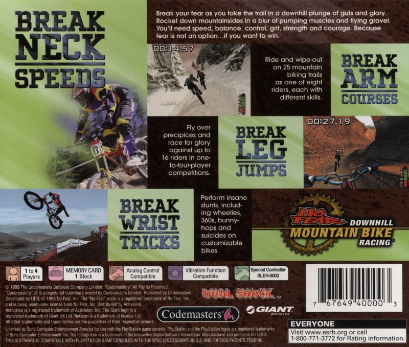 No Fear Downhill Mountain Bike Racing PlayStation Back Cover