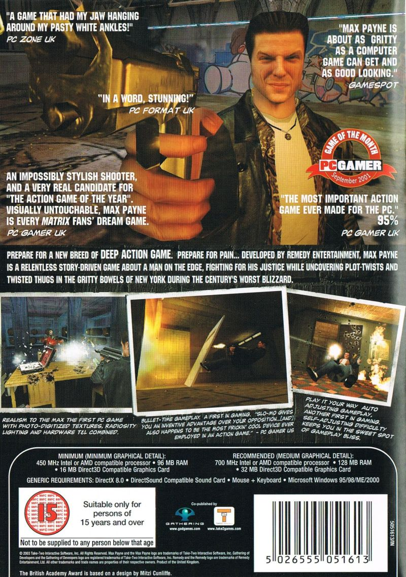 Max Payne Windows Back Cover