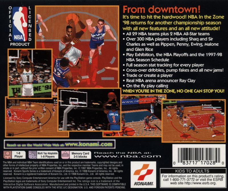 NBA in the Zone '98 PlayStation Back Cover