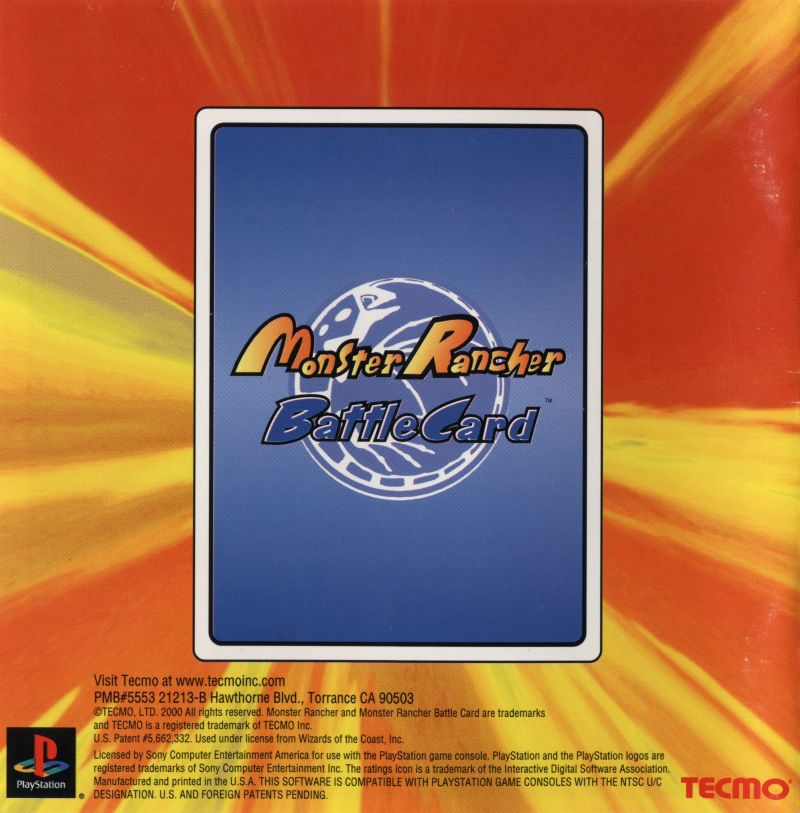 Monster Rancher Battle Card Episode II PlayStation Inside Cover Front Reverse
