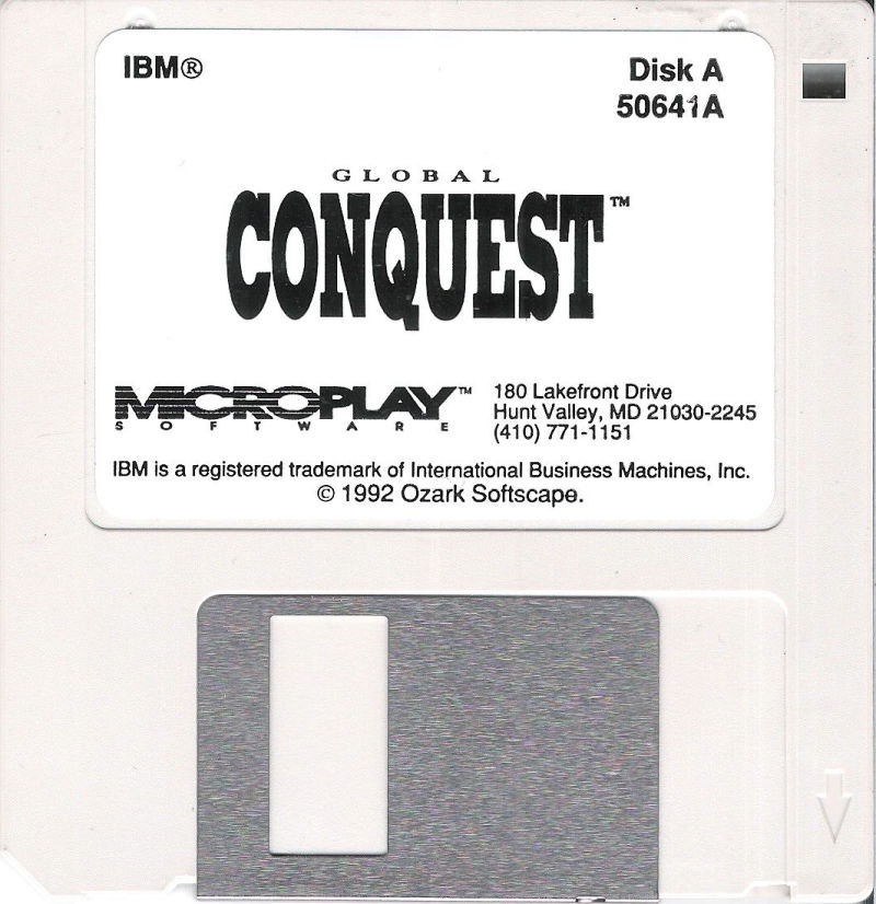"""Global Conquest DOS Media 3.5"""" Disk (1/2)"""