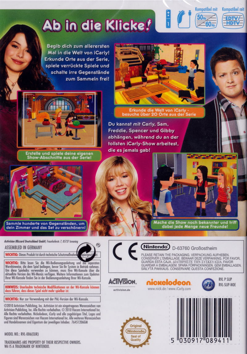 iCarly 2: iJoin the Click! Wii Back Cover