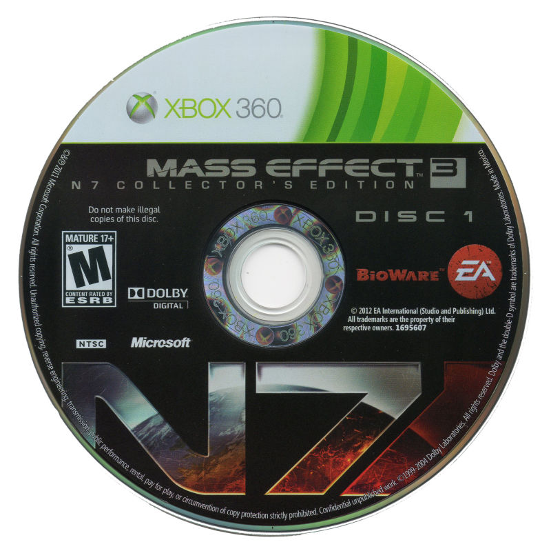 Mass Effect 3 (N7 Collector's Edition) Xbox 360 Media Disc 1/2