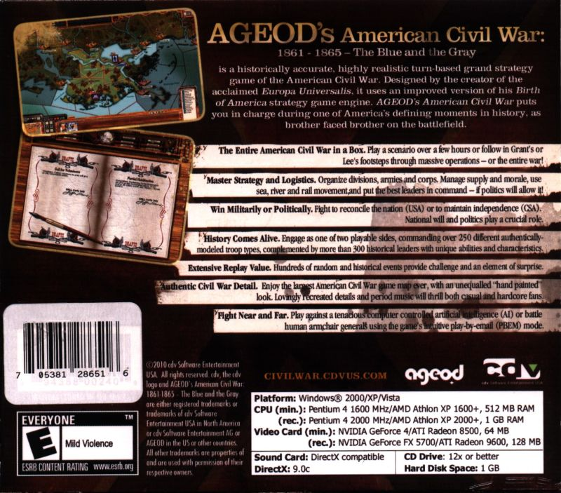 AGEOD's American Civil  War Windows Back Cover