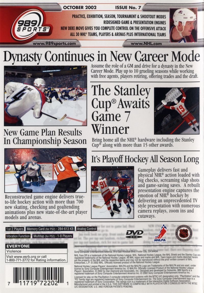 NHL FaceOff 2003 PlayStation 2 Back CoverNhl 2003 Cover