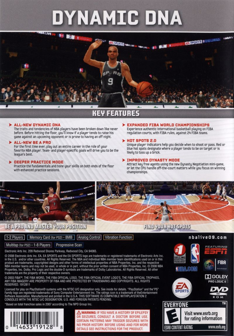 NBA Live 09 PlayStation 2 Back Cover