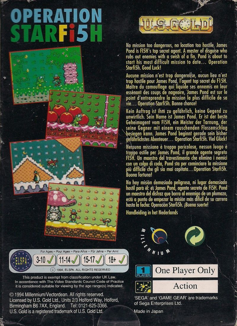 James Pond 3: Operation Starfish Game Gear Back Cover