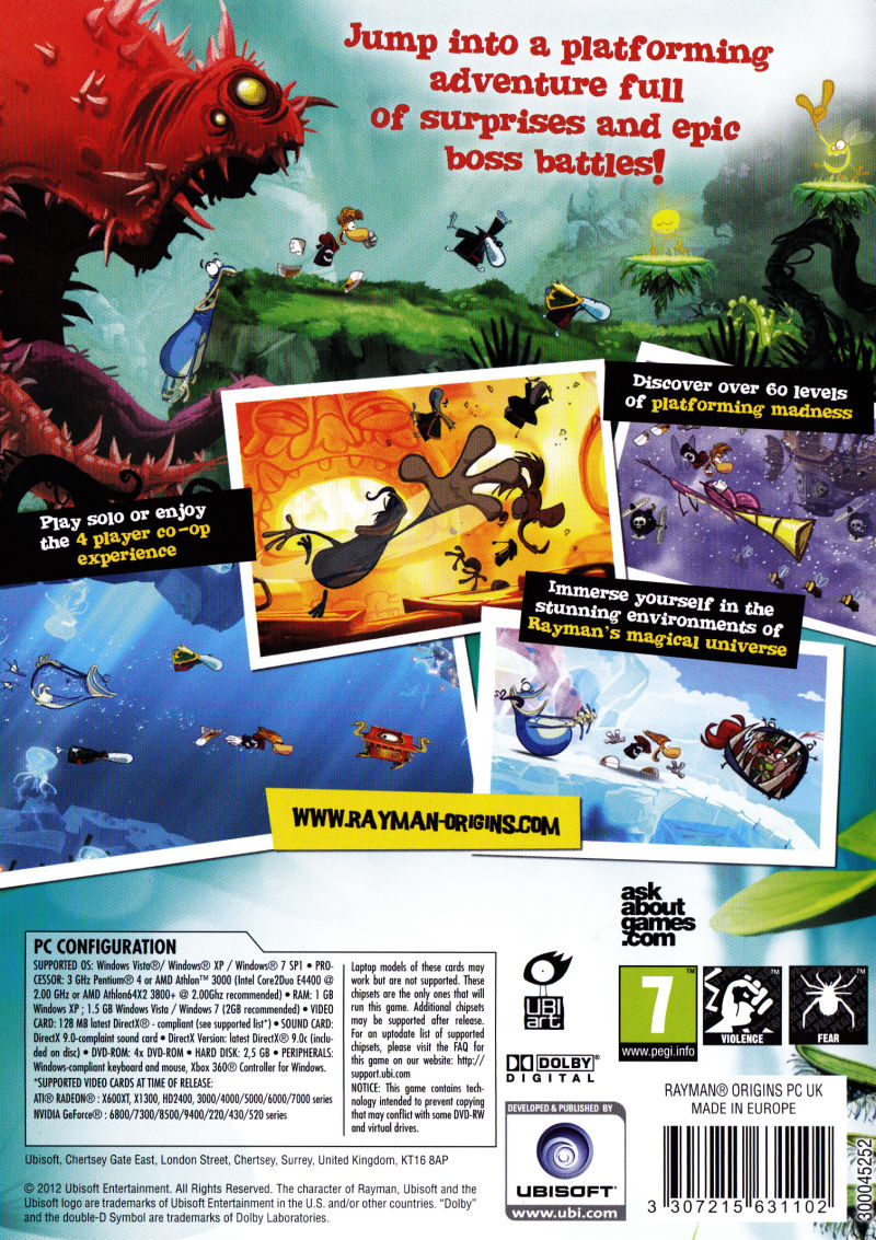 Rayman Origins Windows Back Cover