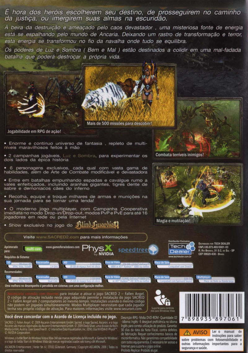Sacred 2: Fallen Angel Windows Back Cover