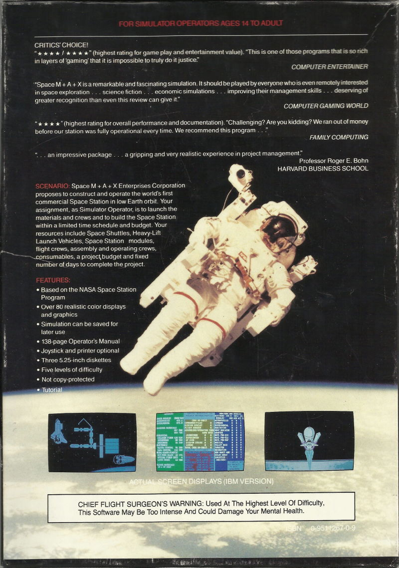 Space M+A+X DOS Back Cover