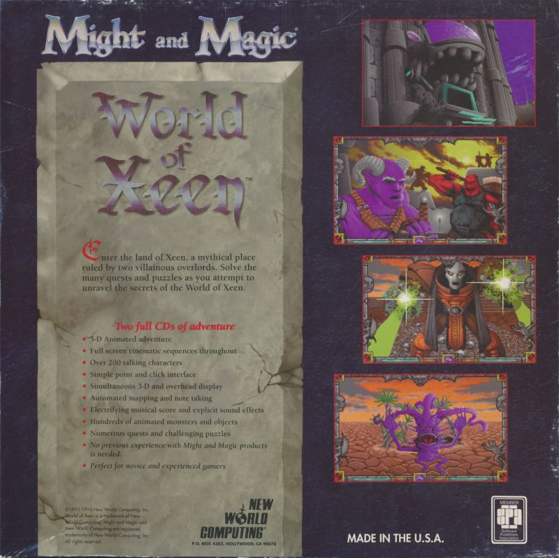 Might and Magic: World of Xeen DOS Back Cover
