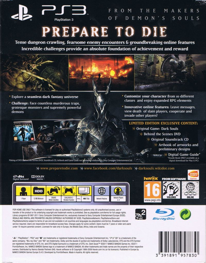 Dark Souls (Limited Edition) PlayStation 3 Back Cover