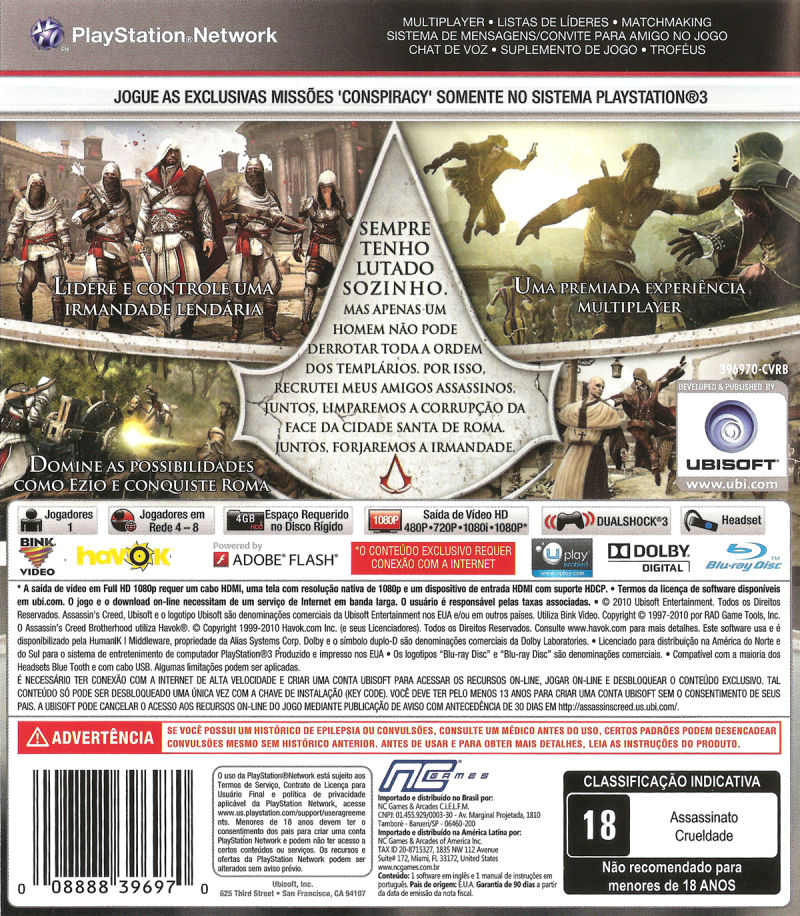 Assassin's Creed: Brotherhood PlayStation 3 Back Cover