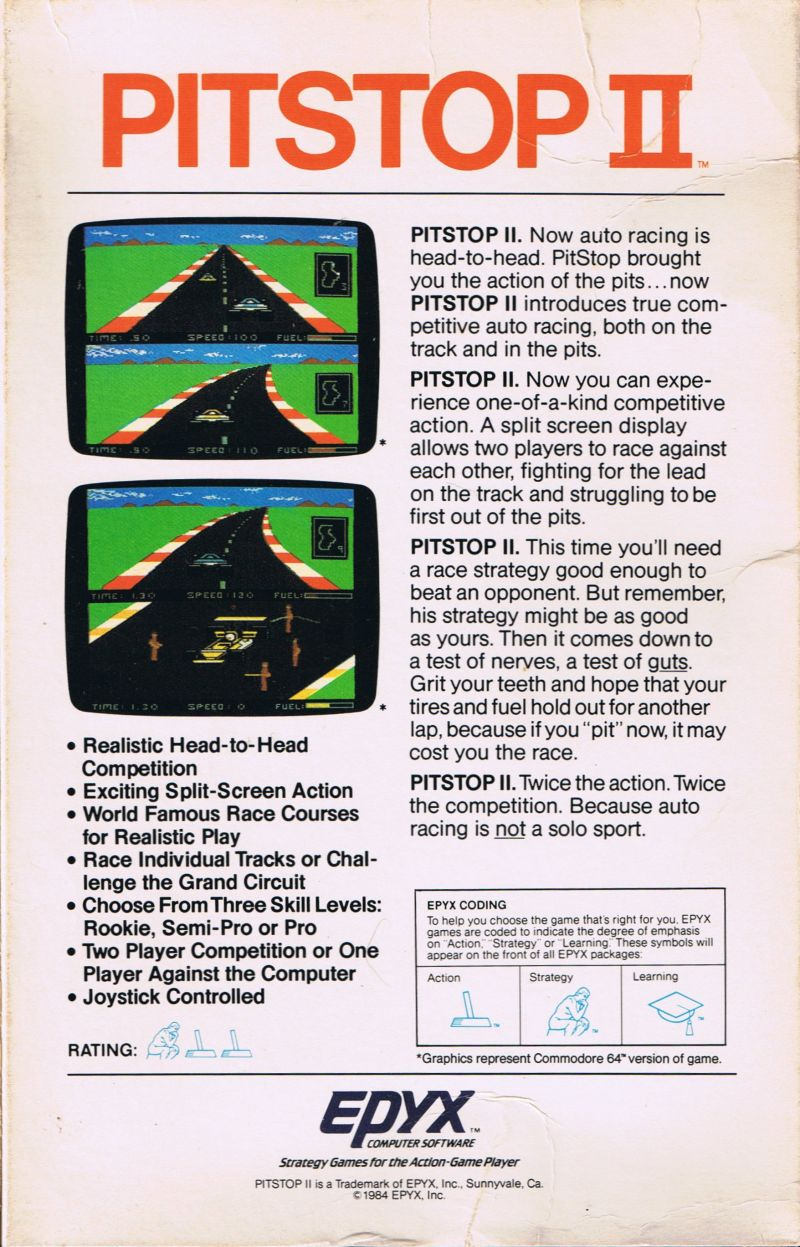Pitstop II Commodore 64 Back Cover