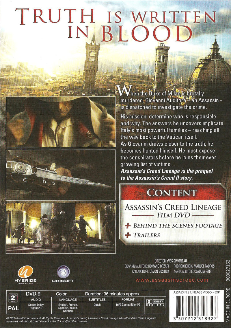 Assassin's Creed: Brotherhood (Codex Edition) PlayStation 3 Other Lineage - Back