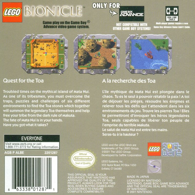 LEGO Bionicle: Tohunga Game Boy Advance Back Cover