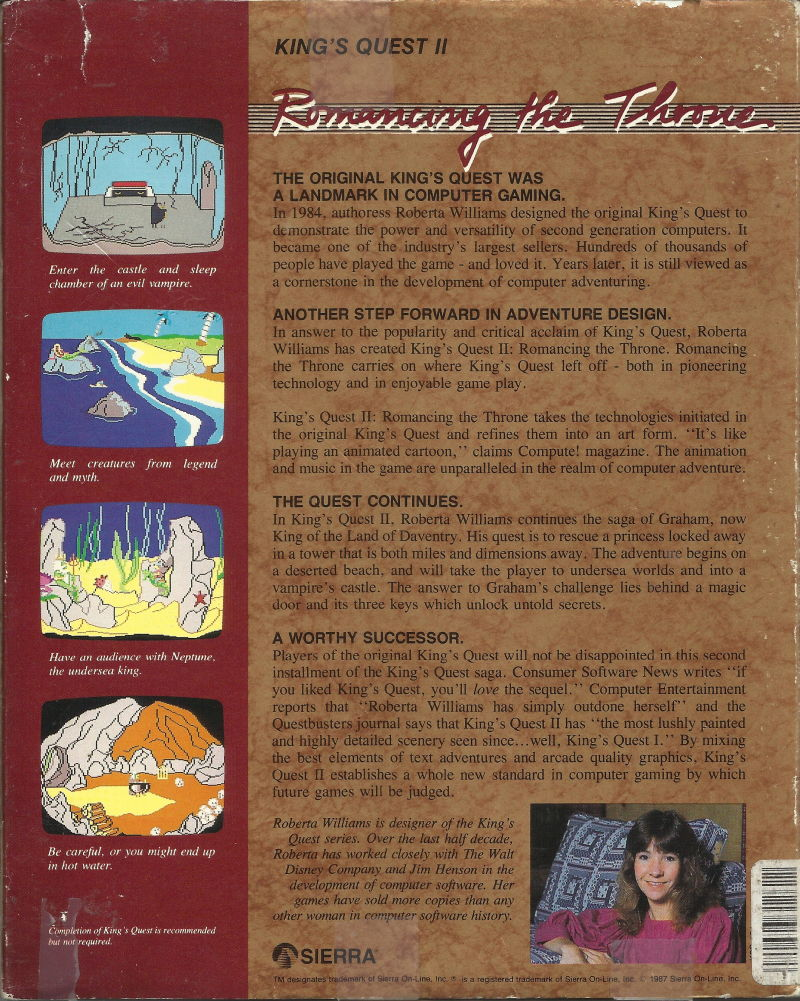 King's Quest II: Romancing the Throne DOS Back Cover