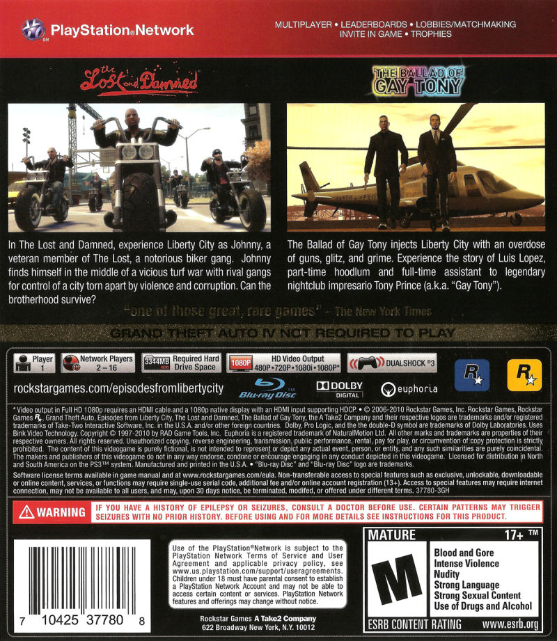 Grand Theft Auto: Episodes from Liberty City PlayStation 3 Back Cover