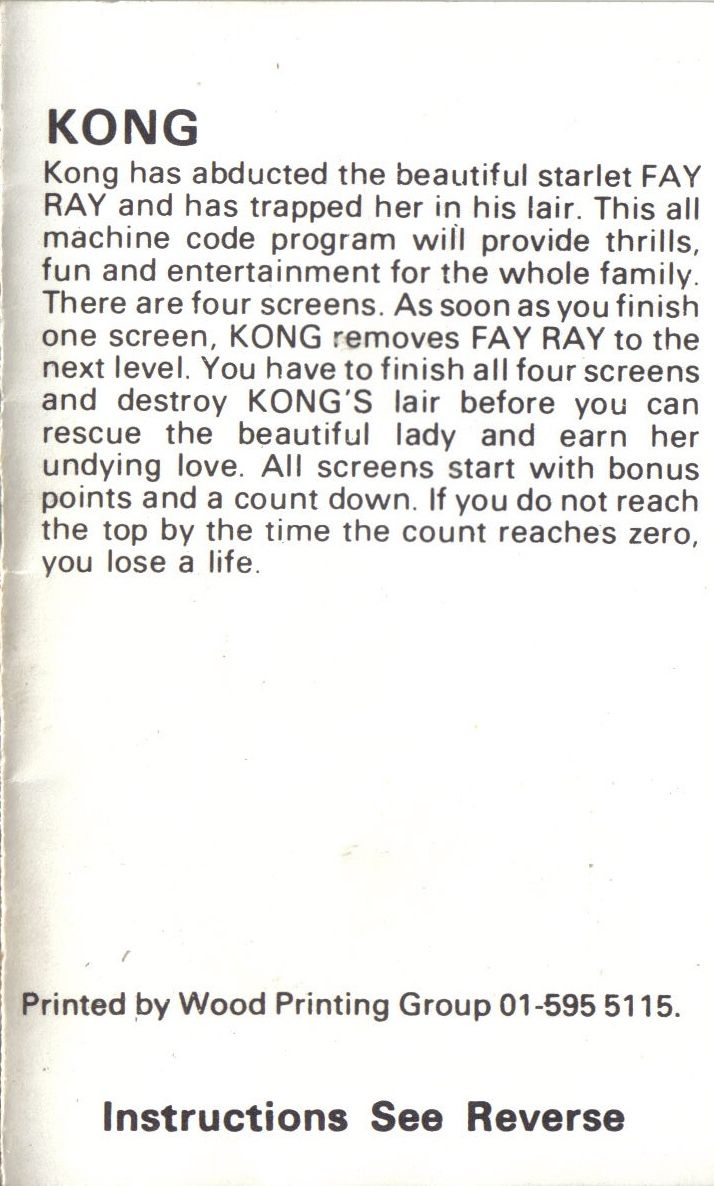 Kong Commodore 64 Inside Cover