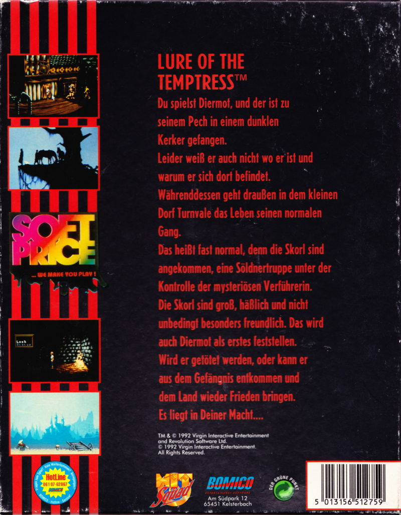 Lure of the Temptress DOS Back Cover