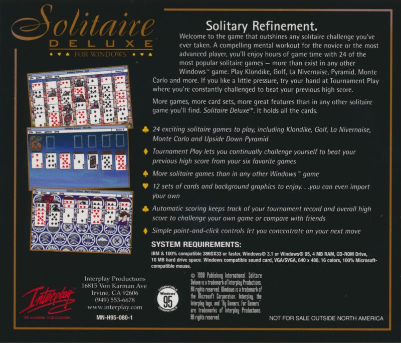 Solitaire Deluxe Windows 3.x Back Cover