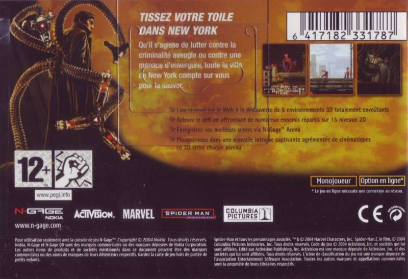 Spider-Man 2 N-Gage Back Cover