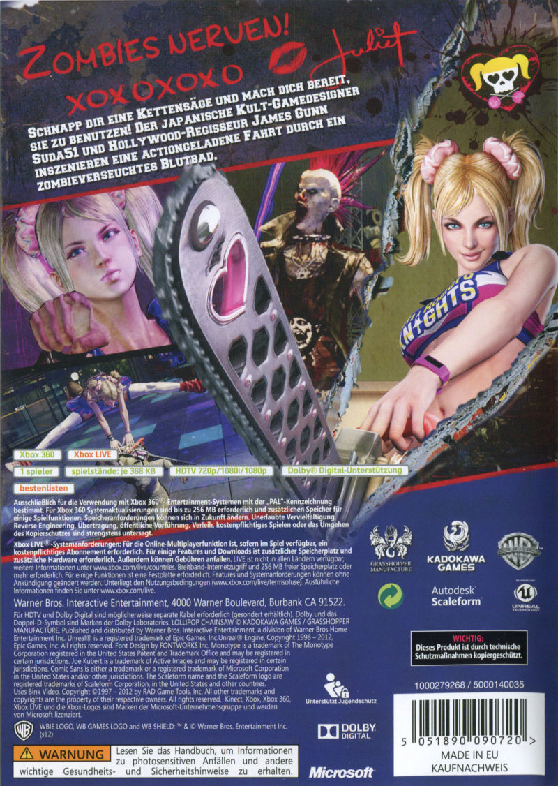 Lollipop Chainsaw Xbox 360 Back Cover
